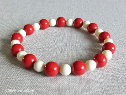Coral Red & Creamy Ivory Pearls Handmade Bracelet With Swarovski Pearls